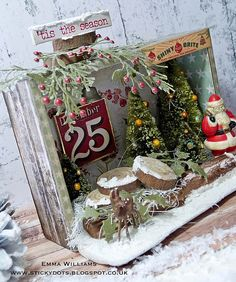 Hello everyone! Today, I'm back with another project that I created for the Tim Holtz Holiday Inspiration Series . This vignette box h. Christmas Paper Crafts, Christmas Projects, Holiday Crafts, Christmas Decorations, Christmas Ornaments, Christmas Vignette, Christmas Scenes, Christmas Door, Christmas Holidays