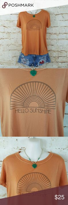 """Urban Outfitters Truly Madly Deeply Sunshine top Great color! And soo soft! Live this laid back comfortable tee. 19"""" across from armpit to armpit and 23"""" long from shoulder to hem excellent condition Urban Outfitters Tops"""