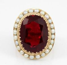 LARGE Vintage Antique Solid 14K Yellow Gold Ruby Pearl Halo Cocktail Ring Size 9