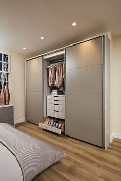 This beautiful contemporary willow bedroom has a range of stunning features including integrated headboard lighting and over bed storage. Master Bedroom Wardrobe Designs, Wardrobe Door Designs, Wardrobe Room, Bedroom Closet Design, Modern Master Bedroom, Bedroom Furniture Design, Home Room Design, Closet Designs, Home Decor Bedroom