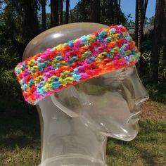 "Handmade multicolored headband Circumference:~20"". Height:~3.25"". 100% acrylic. Crocheted. Handmade Accessories Hair Accessories"