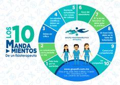 """En Grupo Fisioterapéutico Integral cumplimos al pie de la letra los 10 Mandamientos del #Fisioterapeuta. #GrupoFI """"Salud integral sólo en nuestras manos"""" #Infografía #Fisioterapia"""