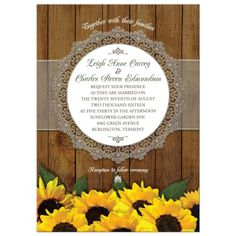 Wedding Invitation - Rustic Watercolor Sunflowers and Lace