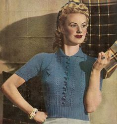 Great 1941 vintage pattern with great style and crochet buttons - designed in the height of the make do and mend period, when nothing was wasted!  Fits Bust Size 33 - 35 inches.  Uses knitting needles UK 10 & 12 ( 3.25 & 2.75 mm).  Try a modern 4ply for this pattern.   You are purchasing a pattern only and not the finished item.  You will receive an email once payment is confirmed with a link to download this pattern.  If you dont receive your email, please contact me.