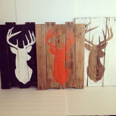 Deer Head Silhouette Pallet Wood Sign by TheCreativePallet on Etsy
