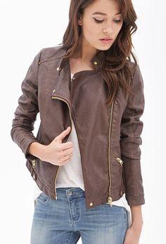 Faux Leather Moto Jacket   LOVE21 - 2000058954