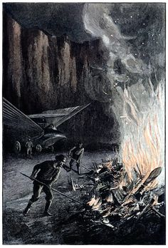 Everything burned instantly.  Georges Roux (?), from Maître du monde (Master of the world), by jules Verne, Paris, 1902.
