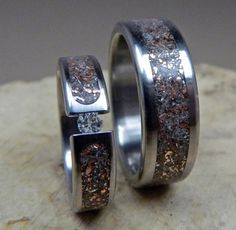 Titanium Wedding Band Set Tension Set Junk and by robandlean, $355.00 His And Hers Rings, Celtic Rings, Engagement Rings For Men, Wedding Band Sets, Fantasy Jewelry, Swarovski Jewelry, Ring Bracelet, Bling, Unique Jewelry