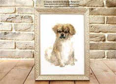 Tibetan Spaniel Watercolor Painting. Custom Dog Portrait Gift Idea. Pets Giclee Fine Art Print Wall Painting. Tibetan Spaniel Brown Home Decor.