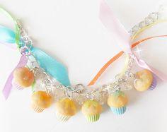 Cupcake Charm Bracelet, Polymer Clay Bracelet, Mini Food Jewelry, Kawaii Jewelry, Cupcake Jewelry, Birthday Cupcake Charm, Food Bracelet