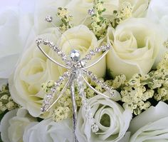 wedding bouquets with rhinestones | Rhinestone Dragonfly Bridal Bouquet Pick - Corsage and Boutonniere ...