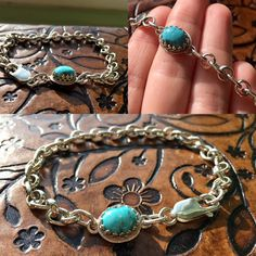 Handmade Artisan Sterling Silver Soldered Chain Bracelet with Natural Black Widow Nevada Turquoise FUNDRAISER ITEM by OurBoySam on Etsy
