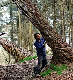 The Willowman lives in the woods of the Floriade, in Holland. He makes beautiful things with willow.