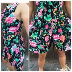 Vintage 80s FLORAL Wide Leg Retro Shorts Dress Romper Jumpsuit Size 7 Small  | eBay