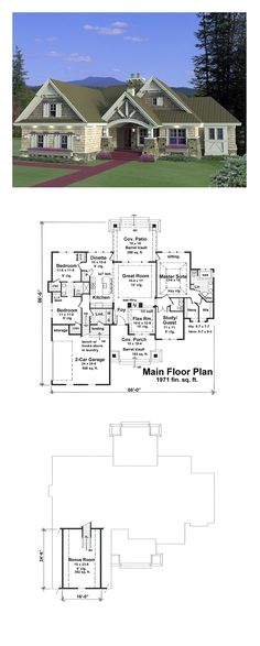 Craftsman House Plan 42652 | Total Living Area: 1971 sq. ft., 3 bedrooms and 2.5 bathrooms. #craftsmanhome