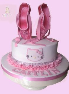 A very quick one from me Hello Kitty Cake this was made for a ballet and hello kitty mad little girl – ballet shoes with tutorial from Peggy does cake loved making it xxx Dance Cakes, Ballet Cakes, Ballerina Cakes, Hello Kitty Theme Party, Hello Kitty Themes, Cupcakes, Cupcake Cakes, Hello Kitty Cake Design, Chocolates
