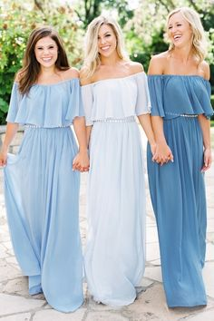 Bridesmaid Gowns Abigail Chiffon Dress - A chiffon bridesmaids dress that is lightweight and airy. Comes in plus sizes, a variety of colors, short lengths like cocktail, and longer lengths like maxi. Fall in love with this chiffon dress! Blue Bridesmaids, Wedding Bridesmaid Dresses, Wedding Gowns, Wedding Band, Wedding Venues, Off Shoulder Bridesmaid, Classy Evening Gowns, Best Formal Dresses, Tulle Ball Gown