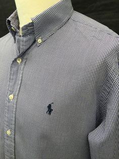 d20163f581 Men's Check Regular Cotton Button Down Casual Shirts & Tops   eBay. Ralph  Lauren ...