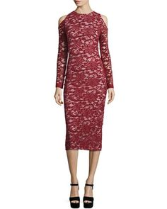 Laila+Cold-Shoulder+Floral-Lace+Sheath+Dress+by+Alice+++Olivia+at+Neiman+Marcus.