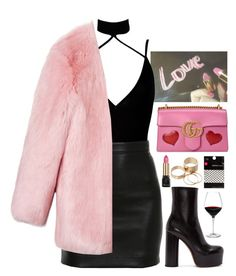 """""""Life Of The Party"""" by brigi-bodoki ❤ liked on Polyvore featuring Boohoo, Balmain, Gucci, Vetements, Dorothy Perkins, Holmegaard, Guerlain and Call it SPRING"""