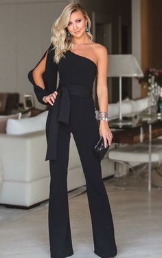 Stylish One Shoulder Slit Sleeve Jumpsuit Stylish One Shoulder Slit . Read more The post Stylish One Shoulder Slit Sleeve Jumpsuit appeared first on How To Be Trendy. Stylish Outfits, Cool Outfits, Summer Outfits, Mode Pop, Look Fashion, Womens Fashion, Fashion Boots, 50 Fashion, Fashion Clothes
