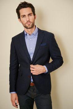 Navy Textured Slim Fit Jacket Code: 670-592 Price: £89