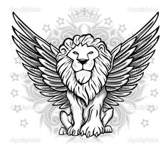depositphotos_14094081-Winged-Lion-Front-View-Drawing.jpg (1024×917)