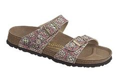 Sydney by Papillio       $79  Kaleidoscope Multi Birko-Flor  Unique materials and creative designs mark this two strap style. The thinner straps are placed comfortably over the foot bones. Contoured cork footbed provides great arch support and comfort. Lightweight, flexible sole can be resoled many times.
