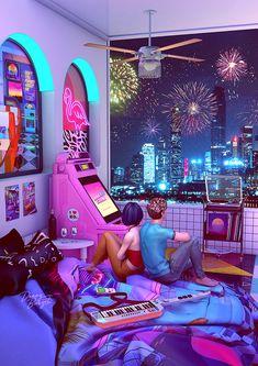 Cyberpunk Aesthetic, Aesthetic Bedroom, Purple Aesthetic, Retro Aesthetic, Cyberpunk Rpg, Night Aesthetic, Background Retro, Retro Bedrooms, Neon Room
