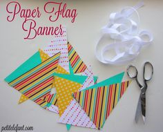 It's so easy to learn how to make a paper flag banner. The easiest thing in the world. Here's a quick and easy tutorial how to make your own paper banner.