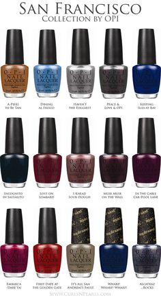 OPI Launches the San Francisco Collection For Fall/Winter 2013: San Francisco by OPI brings street chic style with West Coast flair to nails and toes for Fall/Winter 2013. This new collection features a palette ranging from sky and sea-colored hues of blues and gray to reds, burgundies and browns inspired by some of the city's most iconic elements – Chinatown, the Golden Gate bridge and the Embarcadero.