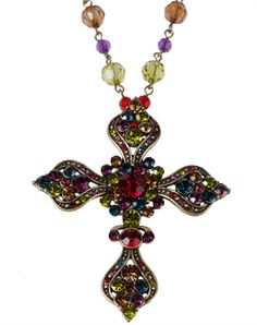 Multi Color Beaded Cross Necklace - Christian Necklace for $7.00 | C28.com