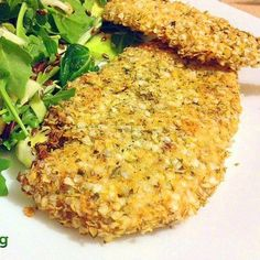 Gluten free chicken snitzel by Clean Eating Recipes    1 x Chicken Breast  1/2 Cup Quinoa Flakes  1 teaspoon of dried Italian Mixed Herbs  Few sprigs of fresh Lemon Thyme (leaves only)  1 Egg    Cut 1cm lengthwise, coat & bake 15 + 7 minutes.    https://www.facebook.com/photo.php?fbid=529468317093281=a.443617109011736.109508.443614159012031=1