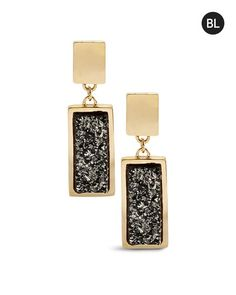 Black Label by Chico's Gold Druzy Clip Earring