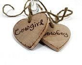 Rustic Wedding tags. Set of two custom Wedding wooden keepsake hearts  Cowboy and Cowgirl.