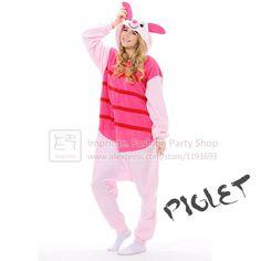 6718673ebe Cosplay  Piglet  Onesie Costume Fleece Winter Sleepwear Anime Pajamas Cute  Unisex Onesie for Adults