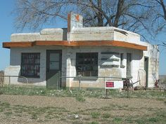 This abandoned art deco Diner is an interesting sight on old Route 66 through Glenrio TX.