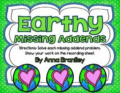 It's hard to believe Earth Day is just around the corner! This free download includes a Common Core aligned math center where  students solve missing addend problems. Enjoy:)