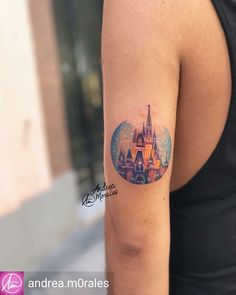 Miniture Disney Castle Tattoo by @andreamorales #disney