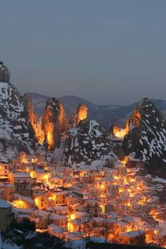 Castelmezzano, Potenza, Basilicata, Italy << warm, toasty winter scenes like this give me the craving to watch Disney movies.. especially Beauty and the Beast..