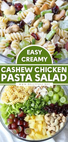 This Cashew Chicken Pasta Salad recipe makes an easy 4th of July food for a crowd! Everyone loves this side dish for potlucks. Loaded with texture and flavor, this summer salad will be the first to… Salads For A Crowd, Main Dish Salads, Food For A Crowd, Main Dishes, Cashew Chicken, Chicken Pasta, Chicken Cashew Pasta Salad Recipe, Chicken Meals, Easy Pasta Recipes