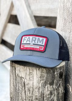 Logo: Embroidered Patch Material: Cotton/poly-twill front panels, Trucker mesh back Closure: Plastic snap adjustable Sizes: Adult | One size fits most Embroidered Patch, A3, Charcoal, Patches, Baseball Hats, Mesh, Plastic, Closure, Logo