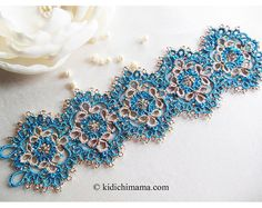 Tatted lace bracelet turquoise color bracelet by kidichimama