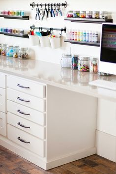 Best Craft Room Storage and Organization Furniture Ideas Cheap Craft Room Storage Cabinets Shelves Ideas Craft Room Storage Cabinets Shelves Ideas 17 Craft Room Storage, Craft Organization, Craft Room Shelves, Organizing Tips, Craftroom Storage Ideas, Craft Room Closet, Craft Room Tables, Closet Desk, Art Supplies Storage