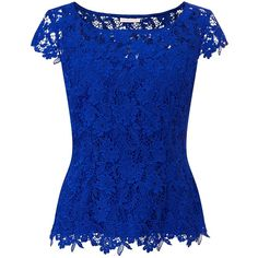 Jacques Vert Sweetheart Lace Top, Blue ($64) ❤ liked on Polyvore featuring tops, shirts, blue lace shirt, sweetheart top, lace tops, short sleeve lace top and blue short sleeve shirt