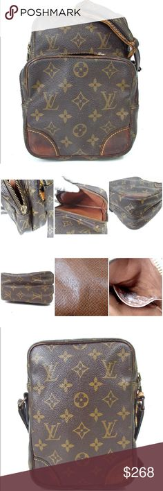 f434c990b903 Auth Louis Vuitton Amazon Crossbody Bag Exterior shows some stains