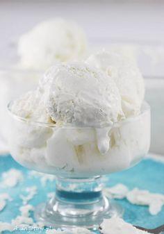Przepis na lody kokosowe | AniaGotuje.pl Halloumi, Homemade Ice Cream, Frozen Desserts, Sorbet, Popsicles, Baked Goods, Creme, Sweet Treats, Food And Drink