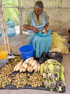 Merchant woman in Guanajuato market selling tomatillo (Physalis philadelphica) to make salsa, Corn smut (huitlacoche) (Ustilago maydis) a delicacy to use in quesadillas in Mexican food, etc., corn husks to make tamales.