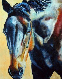 Original Black Horse Oil Painting 11x14. $90.00, via Etsy.