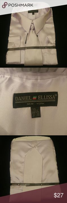 MEN'S DRESS SHIRT LAVENDER COMBO PACK BY DANIEL EL Combination shirt, tie, pocket square. Regular fit. Brand:DANIEL ELLISSA Style:DS3012 NP2 Lavender Material:100% polyester satin rayon New in the bag      This shirt can be SPECIAL ORDERED in your size through Poshmark. Email me @shirtman48 for details. DANIEL ELLISSA Shirts Dress Shirts